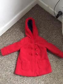 Girls age 2-3 years red duffle coat