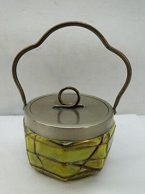 ANTIQUE LOETZ BOHEMIAN THREADED ART GLASS PICKLE CASTOR JAM JAR LID IRIDESCENT