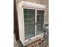 Double door glass freezer