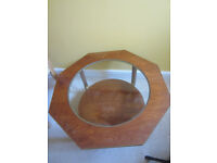 Octagonal Glass & Wood Coffee Table