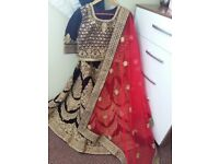 Bridal lehnga brand new in plum colour with shocking pink scarf