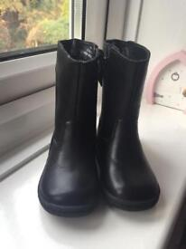Girls marks and Spencer black leather boots size 4