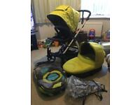 Mamas and papas sola2 lime green pram with carrycot and more
