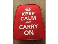 Fun Red Wheeled Suitcase - Hand luggage size. 'Keep Calm & Carry On'