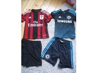 Chelsea strip and AC Milan football top age 7-8
