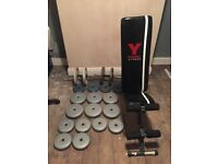 York Bench, Dumbbells & Weights