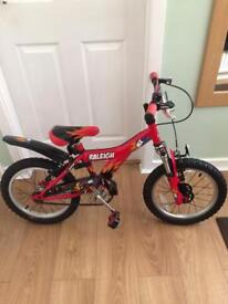Raleigh mx16 boys bike suit age 5 + years