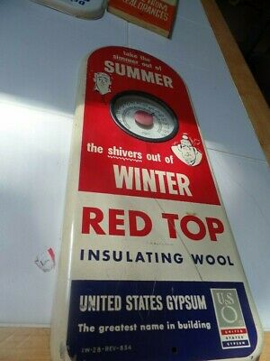 Vintage Red Top Thermometer Sign Made in USA