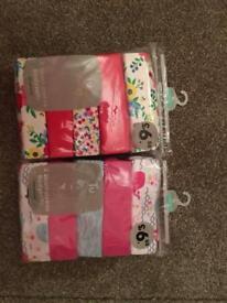 3-6 Months girls short sleeve vests