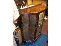 antique display cabinet mirrrored inside for home shop double door