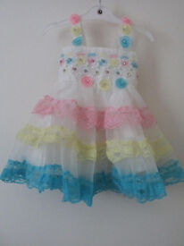 Brand New girls Party white pink yellow blue frills