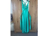 Emerald Green Satin long dress. Ruth Tarvydas designer