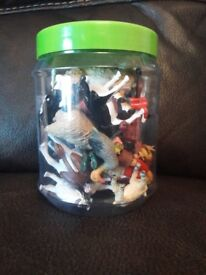 Tub of mother care farm animals with farmer and his family like new