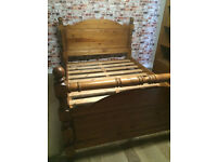 Beautiful solid pine double bed frame, vgc