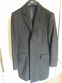 Men's Next Signature Wool Cashmere Blend 3/4 Length Grey Coat.