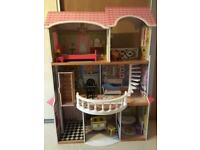 Free standing dolls house (38 inches in width, 46 inches in height and 18 inches in depth).