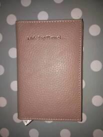 Blush pink leather passportholder