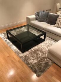 Sleek Dark Oak Frame Glass Designer Coffee Table by Dwell