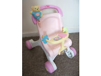 FISHER PRICE BABY WALKER PUSHCHAIR TODDLER MUSICAL ACTIVITY PUSH ALONG BEAR TUNE NOT CAR SEAT