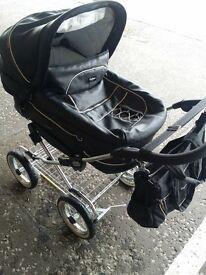 emmaljunga Black leather baby pram