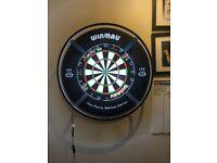 Winmau darts set up and target light