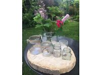 Wedding Logs and Glass Candle Kilner Jars - Table Centrepieces
