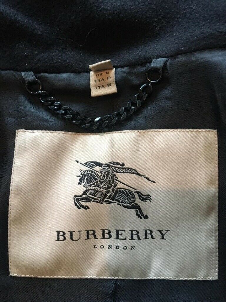 fdc075b6 Vintage original Burberry Ratcliffe women's black wool coat | in ...