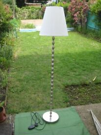 Nickel Plated IKEA EKARP Standard Light with Matching White Fabric Lampshade for £20.00