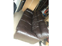 real leather, dark brown, generous three seat sofa