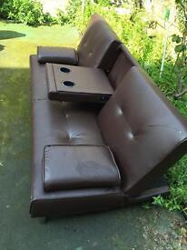 Brown leather single sofa bed