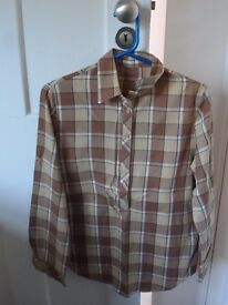 M&S Brown Checked Blouse - Size 12