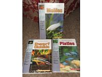 x3 Aquarium Hardback Books - Mollies/Dwarf Cichlids/Platies - Ex.Con.