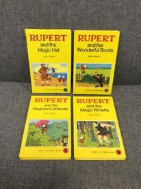 Rare original vintage retro x4 RUPERT THE BEAR HB SMALL YELLOW BOOKS SDHC