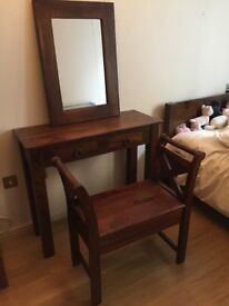 Solid Sheesham Wood Dressing Table, Mirror and Stool