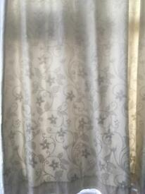 1 pair cream jacquard lined curtains