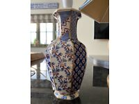 Pair of Masons stoneware table lamps with matching blue shades