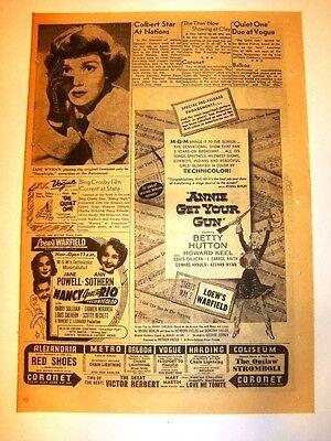 4/23/1950 - ANNIE GET YOUR GUN Movie ad - JANE WYMAN, Howard Keel, BETTY HUTTON