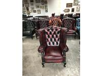 Stunning oxblood leather chesterfield Winchester wingback Queen Anne chair UK delivery