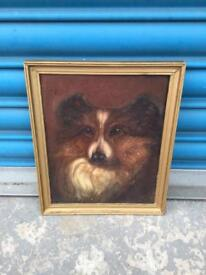 VINTAGE RETRO ANTIQUE FRAMED PAINTING DOG STUDY VERY OLD SDHC