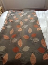 Curtains - grey with orange leaf - 66w x 90 drop