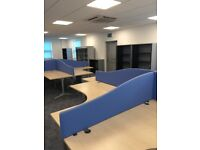 FREE OFFICE DESKS AND PEDESTALS 12, OPERATORS CHAIRS 12, CABINETS 4,