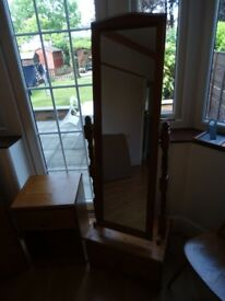 Full length tilting mirror on pine frame and base unit with drawer