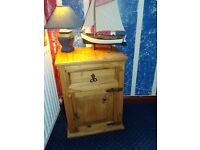 Rustic Pine Furniture.... 1 door cupboard/lamp table, tall slim bookcase