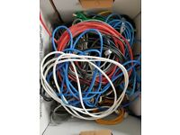 Box full of various length Ethernet RJ45 CAT5E Cables