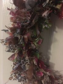 Handmade Christmas rag wreaths