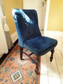 Four Navy Blue Velvet dining room chairs