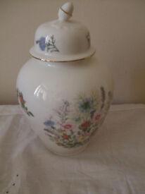 Aynsley Bone China Lidded Vase Wild Tudor 9 inches high. Fine bone china Made in England