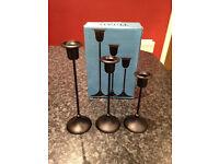 Ikea Triad set of 3 black candlesticks in box - very good condition - Didsbury area