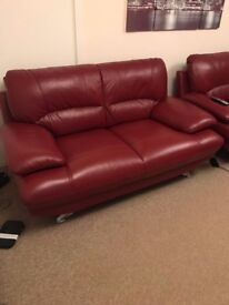 2 & 3 seater red leather sofas