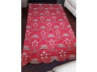 Red patterned Oriental style Roman blind - full length, plus pair of curtains